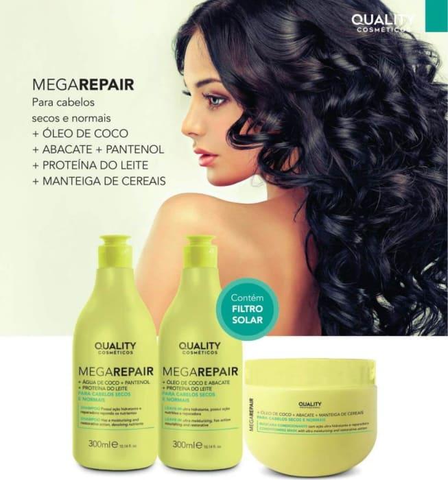 Kit para Cabelos Secos e Normais Mega Repair - (Shampoo, Máscara, Leave-in)  (0)
